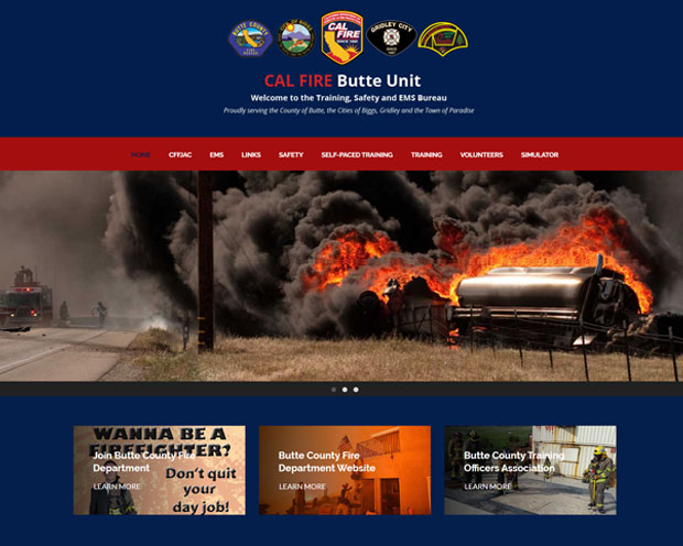 Screenshot of Cal Fire's website, developed by DK Web Design