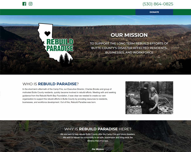 Screenshot of the Rebuild Paradise website, designed and developed by DK Web Design